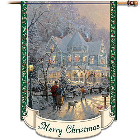 Thomas Kinkade Merry Christmas Decorative Flag
