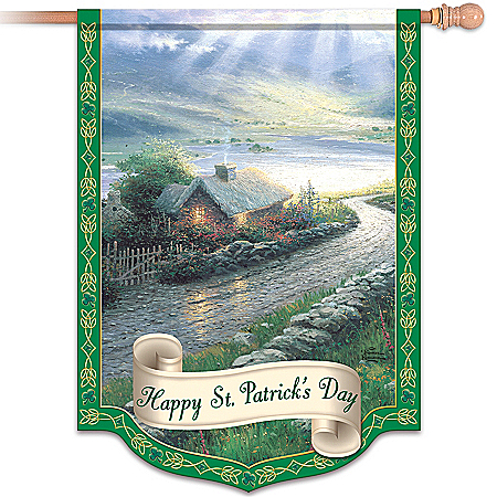 Thomas Kinkade Happy St. Patrick's Day Flag: Irish Wall Decor
