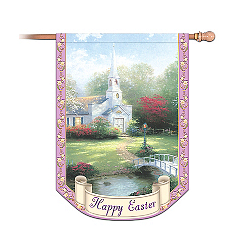 Thomas Kinkade Happy Easter Decorative Flag