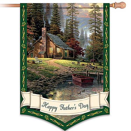 Thomas Kinkade Happy Father's Day Decorative Flag