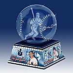Mickey Mantle Laser-Etched Commemorative Glass Sculpture With Base