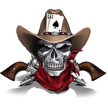 Dead Man's Hand Cowboy Skull Sculpture