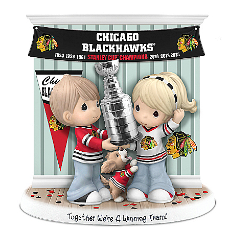 NHL Licensed Chicago Blackhawks Stanley Cup Precious Moments Porcelain Figurine