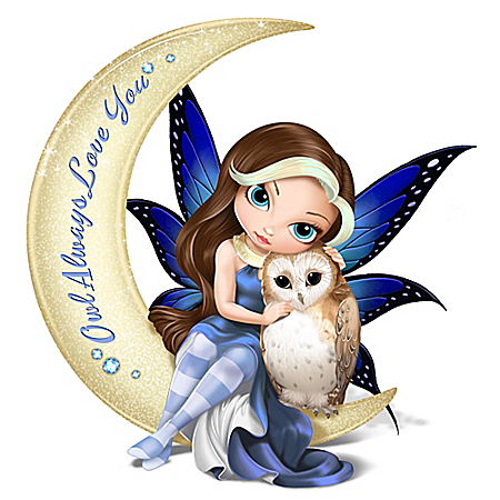 Jasmine Becket-Griffith Owl Always Love You Crescent Moon Figurine