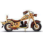 Pittsburgh Steelers Handcrafted Wooden Motorcycle Sculpture