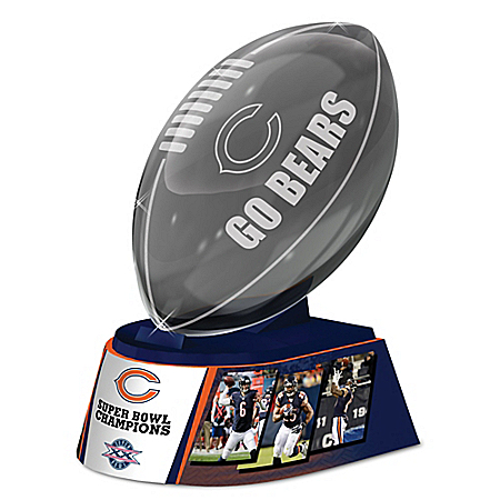 Reflections Of Pride Chicago Bears Laser-Etched Glass Football Sculpture