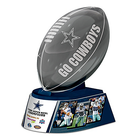 Reflections Of Pride Dallas Cowboys Laser-Etched Glass Football Sculpture