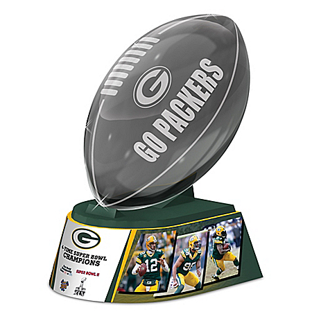Reflections Of Pride Green Bay Packers Laser-Etched Glass Football Sculpture