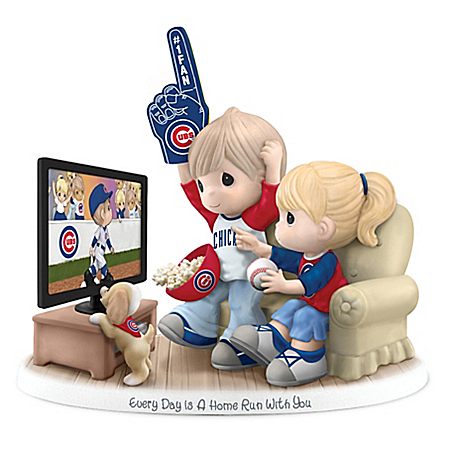 Precious Moments Chicago Cubs Fan Porcelain Figurine with Team Logos and Colors