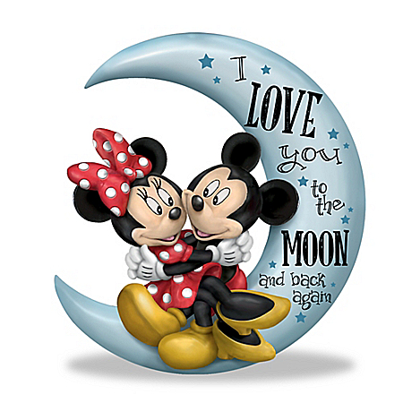 Mickey Mouse & Minnie Mouse I Love You To The Moon And Back Figurine