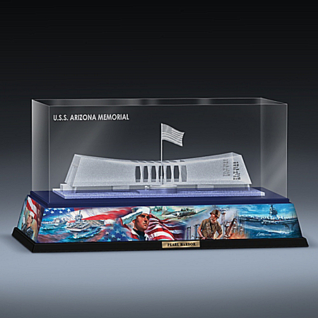 Laser Etched USS Arizona Memorial Glass Block Sculpture from Hamilton Collection