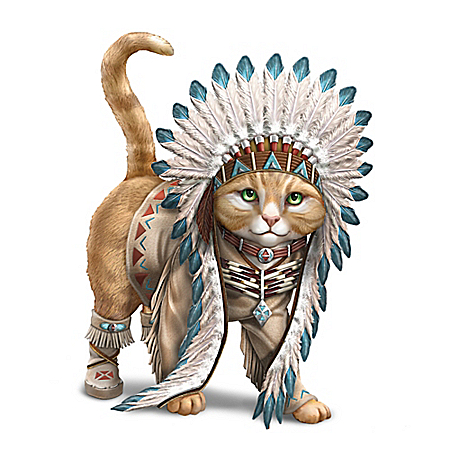 Chief Runs With Paws Native American Inspired Cat Figurine