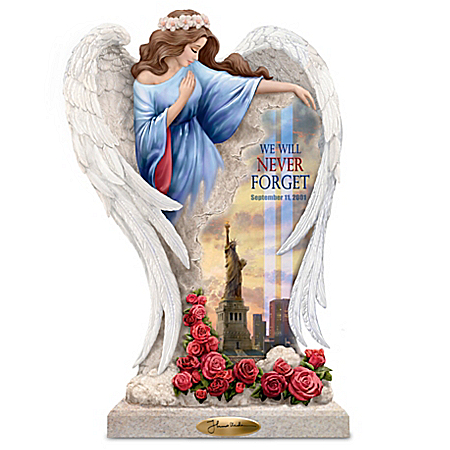 Thomas Kinkade We Will Never Forget Angel Memorial Sculpture