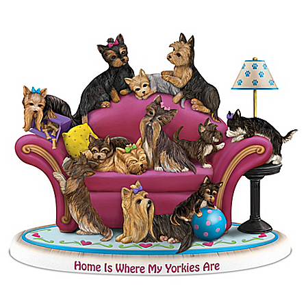 Home Is Where My Yorkies Are Hand-Painted Figurine