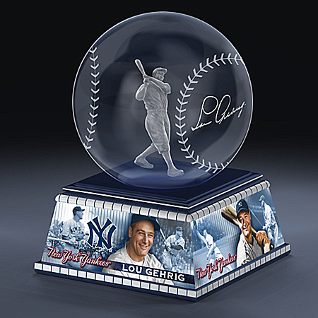 New York Yankees Lou Gehrig Laser-Etched Glass Sculpture