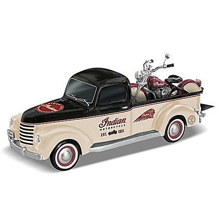 Classic Cruisers 1948 Indian Motorcycle And Pickup Truck Sculpture