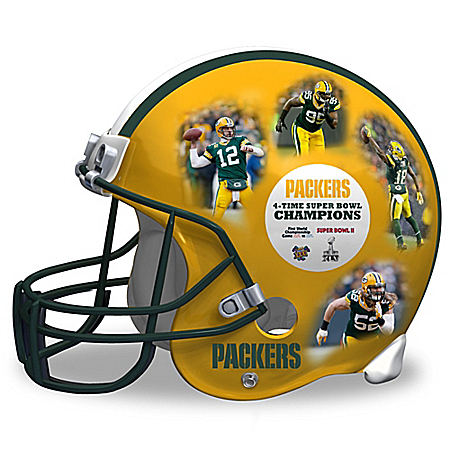 Green Bay Packers Collage Regulation Size Helmet Sculpture