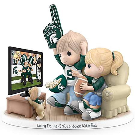 Precious Moments Every Day Is A Touchdown With You Michigan State Spartans Figurine