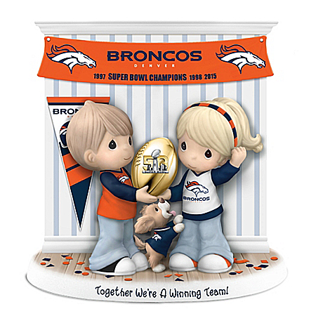 Together We're A Winning Team Denver Broncos Precious Moments Figurine
