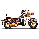 Never Forget Handcrafted Wooden Motorcycle Sculpture