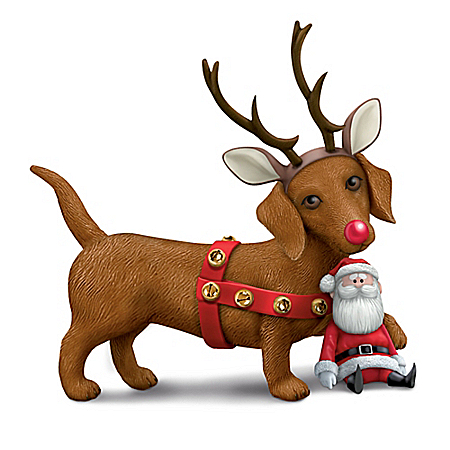 Rudolph The Red-Nosed Reindeer Dachshund Through The Snow Figurine