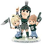 Go Green, Go White, Go Right Through For MSU Spartans Precious Moments Figurine