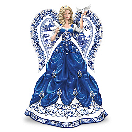 Sparkling Blue Willow China Pattern Lady Figurine