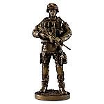 Providing Security Cold-Cast Bronze Finish Soldier Sculpture