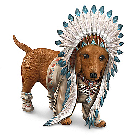 Chief Barks A Lot Native American Inspired Dachshund Figurine