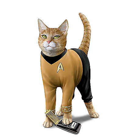 STAR TREK Cat-tain Kirk Hand-Painted Cat Figurine