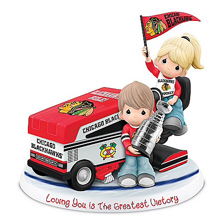 Chicago Blackhawks Precious Moments Couple Figurine Honors Stanley Cup Champions