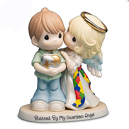 Precious Moments Guardian Angel Autism Awareness Figurine: Hamilton Collection