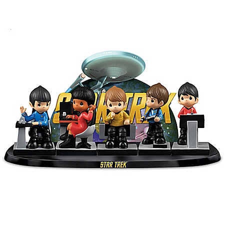 Precious Moments STAR TREK To Boldly Go Figurine Set With Display