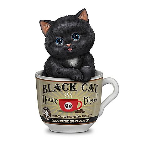 Kayomi Harai Dark Roast Coffee Mug Cat Figurine