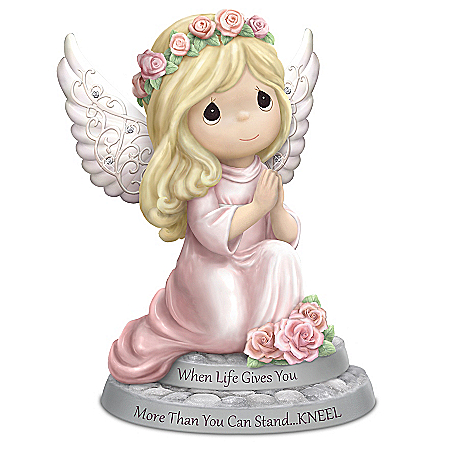 Precious Moments Praying Angel Porcelain Figurine with 6 Swarovski Crystals