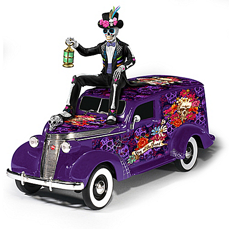 Day Of The Dead Hand-Painted Sugar Skull Hearse Sculpture