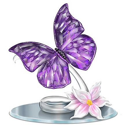 Blake Jensen Crystalline Butterfly Figurine With Mirror Base