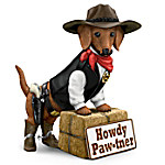 Howdy Paw-tner Dachshund Welcome Sculpture