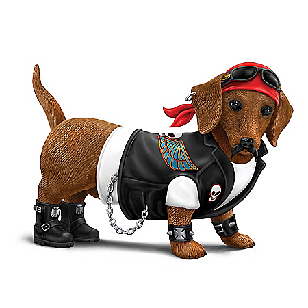 Cruiser Biker-Themed Dachshund Figurine