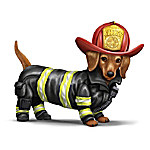 Chief Furry Fighter Firefighter-Themed Dachshund Figurine