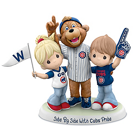 Precious Moments Side By Side With Chicago Cubs MLB Pride Figurine