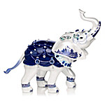 Sparkling Blue Willow Hand-Painted Elephant Figurine Adorned With Swarovski Crystals