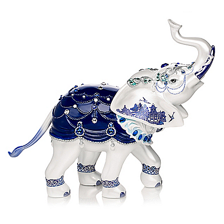 Sparkling Blue Willow Hand-Painted Elephant Figurine With Swarovski Crystals