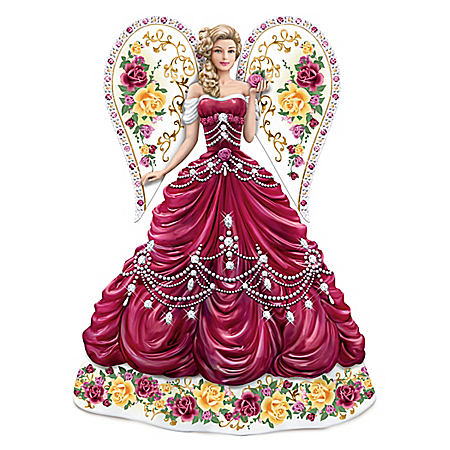 Sparkling Country Rose Hand-Painted Angel Figurine