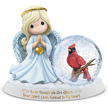 Precious Moments Even Though We Are Apart, Your Spirit Lives Forever In My Heart Angel Figurine