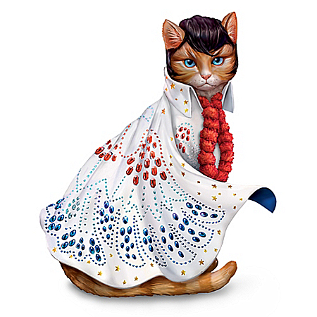 Heartbreak Furr-tel Elvis Presley-Inspired Cat Figurine