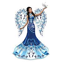 Keith Mallett Sparkling Blue Willow Angel Figurine