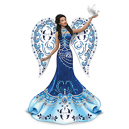 Keith Mallett Sparkling Blue Willow Angel Figurine