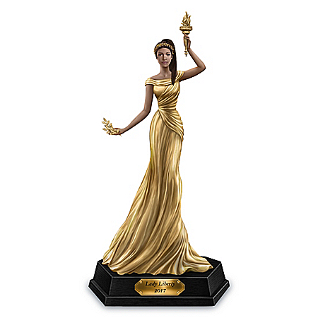 2017 Golden American Liberty Lady Handcrafted Figurine
