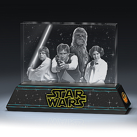 STAR WARS Rebel Alliance Laser-Etched Glass Tribute Sculpture